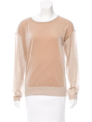 Reed Krakoff Metallic-Accented Long Sleeve Top None