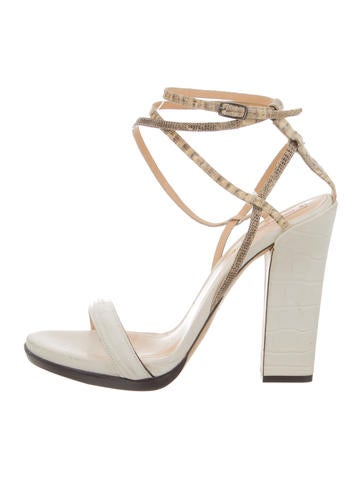 Reed Krakoff Embossed Ankle Strap Sandals None