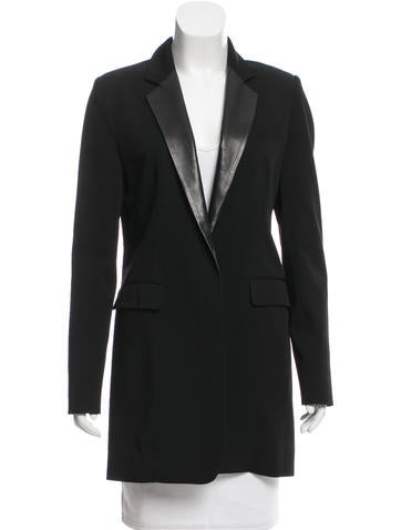 Reed Krakoff Leather-Trimmed Wool Blazer None