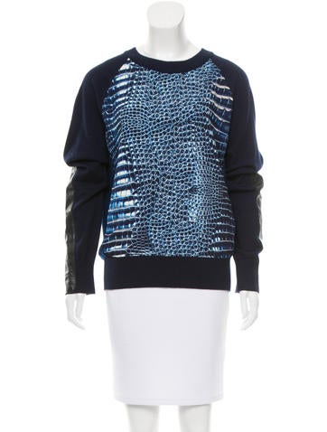 Reed Krakoff Leather Panel Crew Neck Sweater None