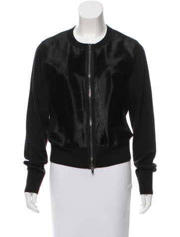 Reed Krakoff Ponyhair-Paneled Knit Cardigan None