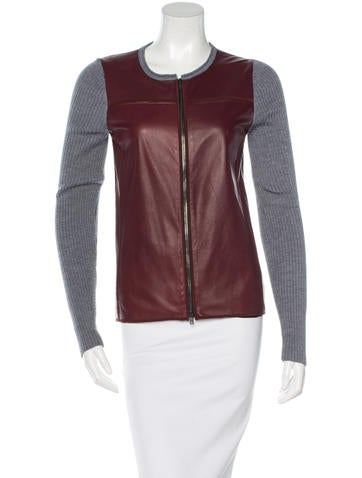 Reed Krakoff Leather-Paneled Knit Cardigan None