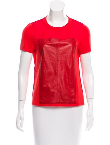 Reed Krakoff Leather-Accented Cashmere Top None