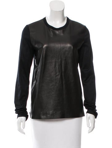 Reed Krakoff Leather-Paneled Long Sleeve Top w/ Tags None
