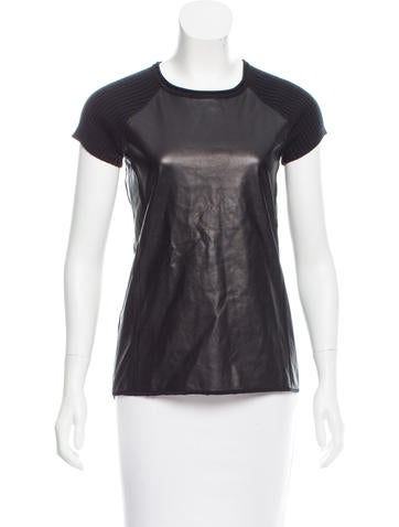 Reed Krakoff Leather-Paneled Cashmere & Wool-Blend Top None