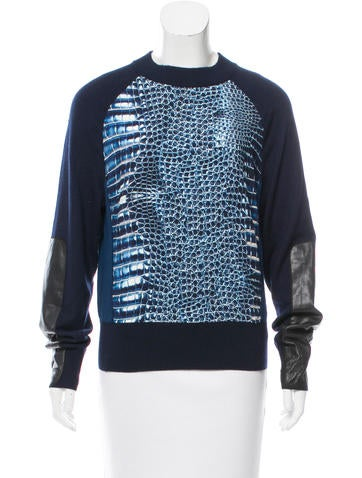 Reed Krakoff Leather-Accented Printed Sweater None