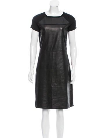 Reed Krakoff Leather-Trimmed Knee-Length Dress None