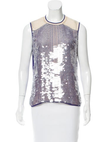 Reed Krakoff Sequin-Embellished Sleeveless Top None