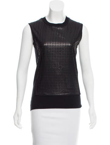 Reed Krakoff Leather-Accented Sleeveless Top None