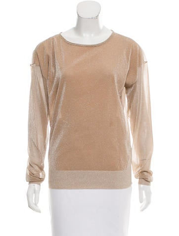 Reed Krakoff Metallic Long Sleeve Top None