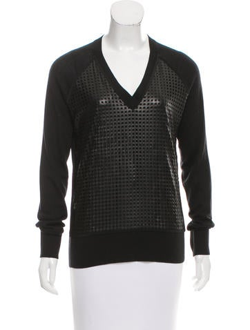 Reed Krakoff Leather-Paneled Wool & Cashmere-Blend Sweater None