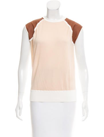 Reed Krakoff Leather-Paneled Sleeveless Sweater None
