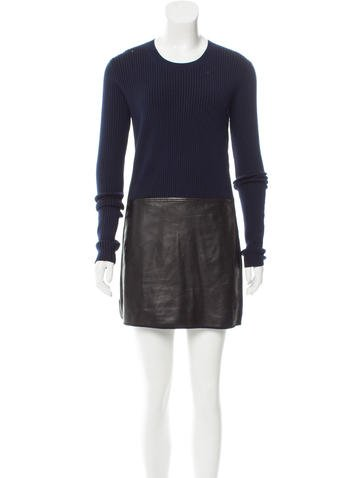 Reed Krakoff Leather-Trimmed Sweater Dress None