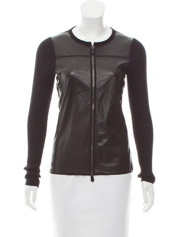 Reed Krakoff Leather-Paneled Rib Knit Cardigan None