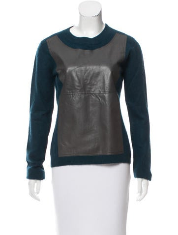 Reed Krakoff Leather-Paneled Cashmere Sweater None