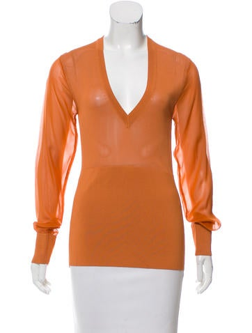 Reed Krakoff Long Sleeve V-Neck Top None