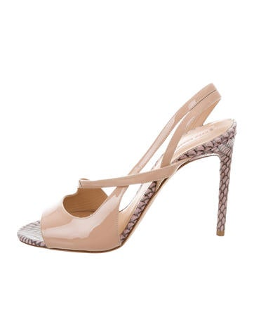 Reed Krakoff Snakeskin-Trimmed Nude Sandals None
