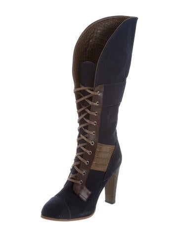 cheap sale 2015 new Reed Krakoff Alligator-Accented Lace-Up Boots cheap real finishline discount factory outlet buy cheap fake goycBJSKYB