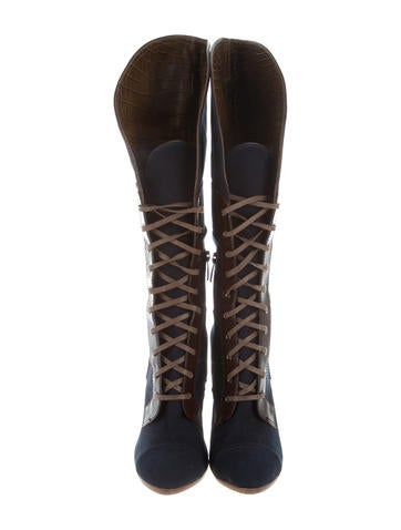 outlet 2014 new 2014 newest for sale Reed Krakoff Alligator-Accented Lace-Up Boots cheap enjoy buy cheap visit KFoqzFTz2
