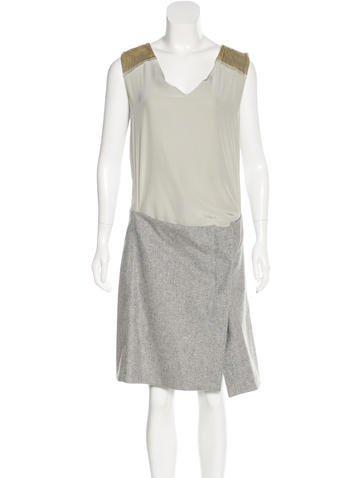 Reed Krakoff Velvet and Wool Paneled Dress None