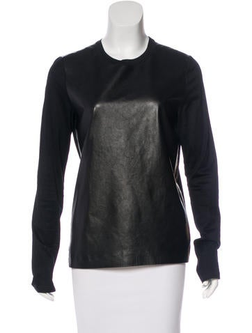 Reed Krakoff Leather-Paneled Long Sleeve Top None