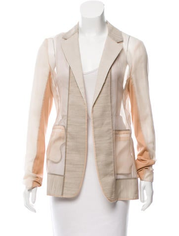 Reed Krakoff Sheer Notch-Lapel Blazer None