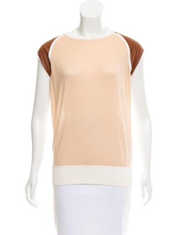 Reed Krakoff Leather-Paneled Colorblock Top None