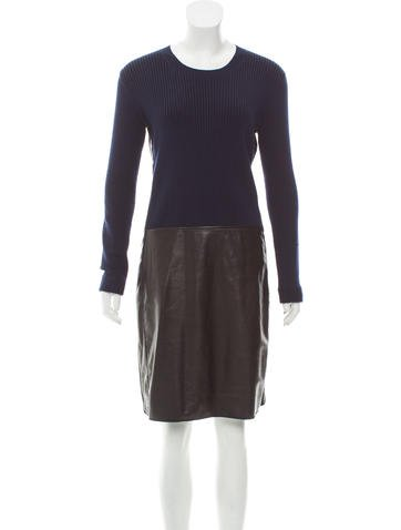 Reed Krakoff Leather-Paneled Sweater Dress None