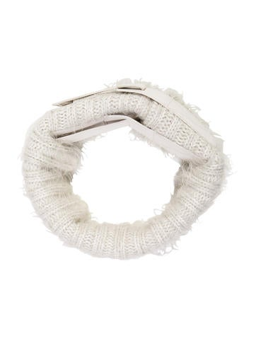 Reed Krakoff Leather-Trimmed Knit Snood w/ Tags None