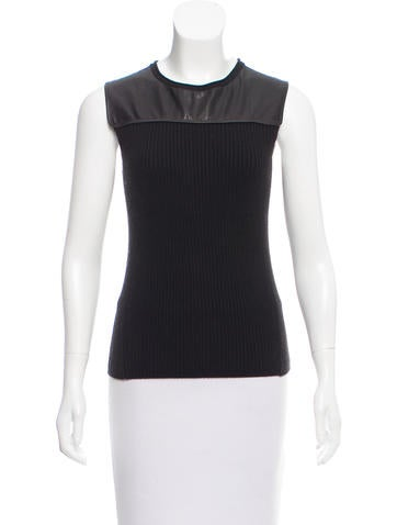 Reed Krakoff Leather-Accented Rib Knit Top None