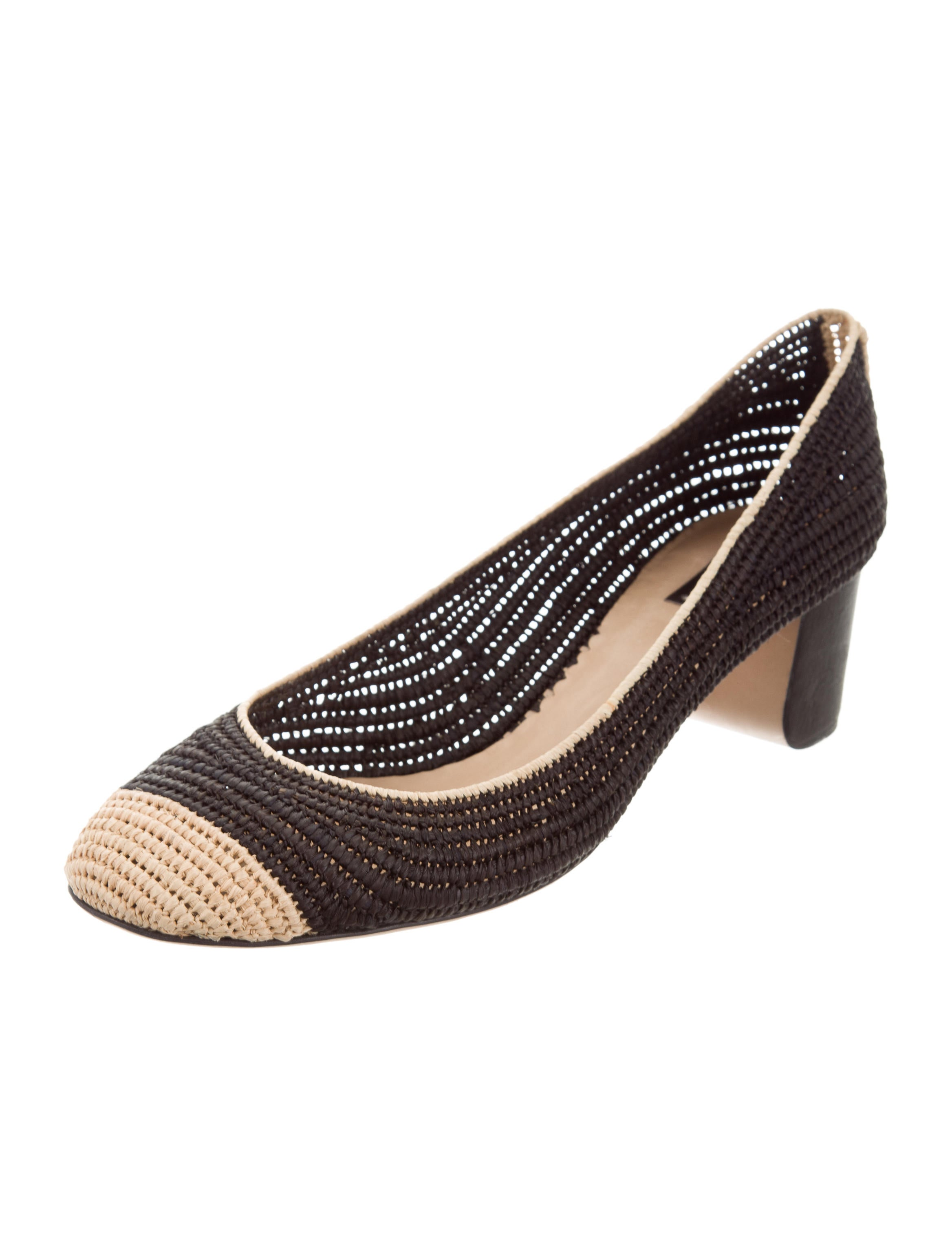 outlet cheap quality cheapest price sale online Reed Krakoff Straw Round-Toe Pumps outlet cost Z186R