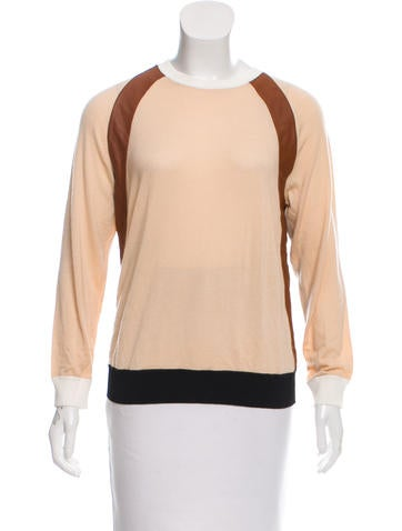 Reed Krakoff Cashmere-Blend Leather-Trimmed Sweater w/ Tags None