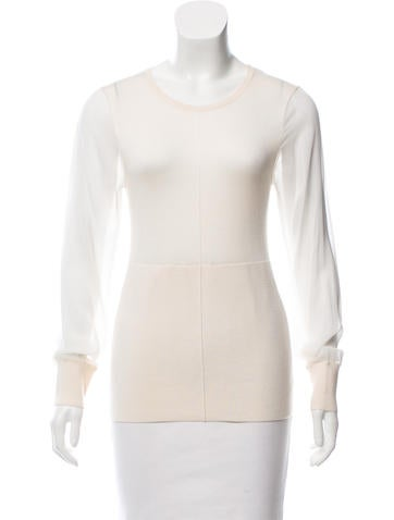 Reed Krakoff Silk-Accented Cashmere-Blend Top None
