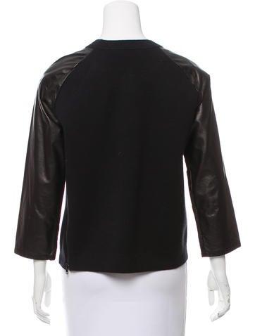 Leather-Accented Crew Neck Sweatshirt