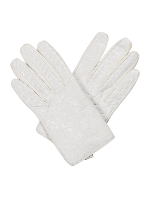 Reed Krakoff Crocodile-Trimmed Leather Gloves Whit