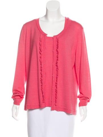 Rena Lange Wool Embellished Cardigan Set None