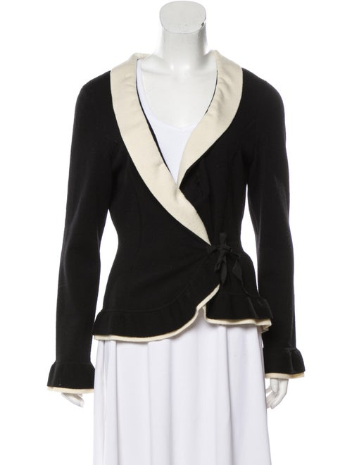Rena Lange Virgin Wool Shawl Collar Cardigan Black