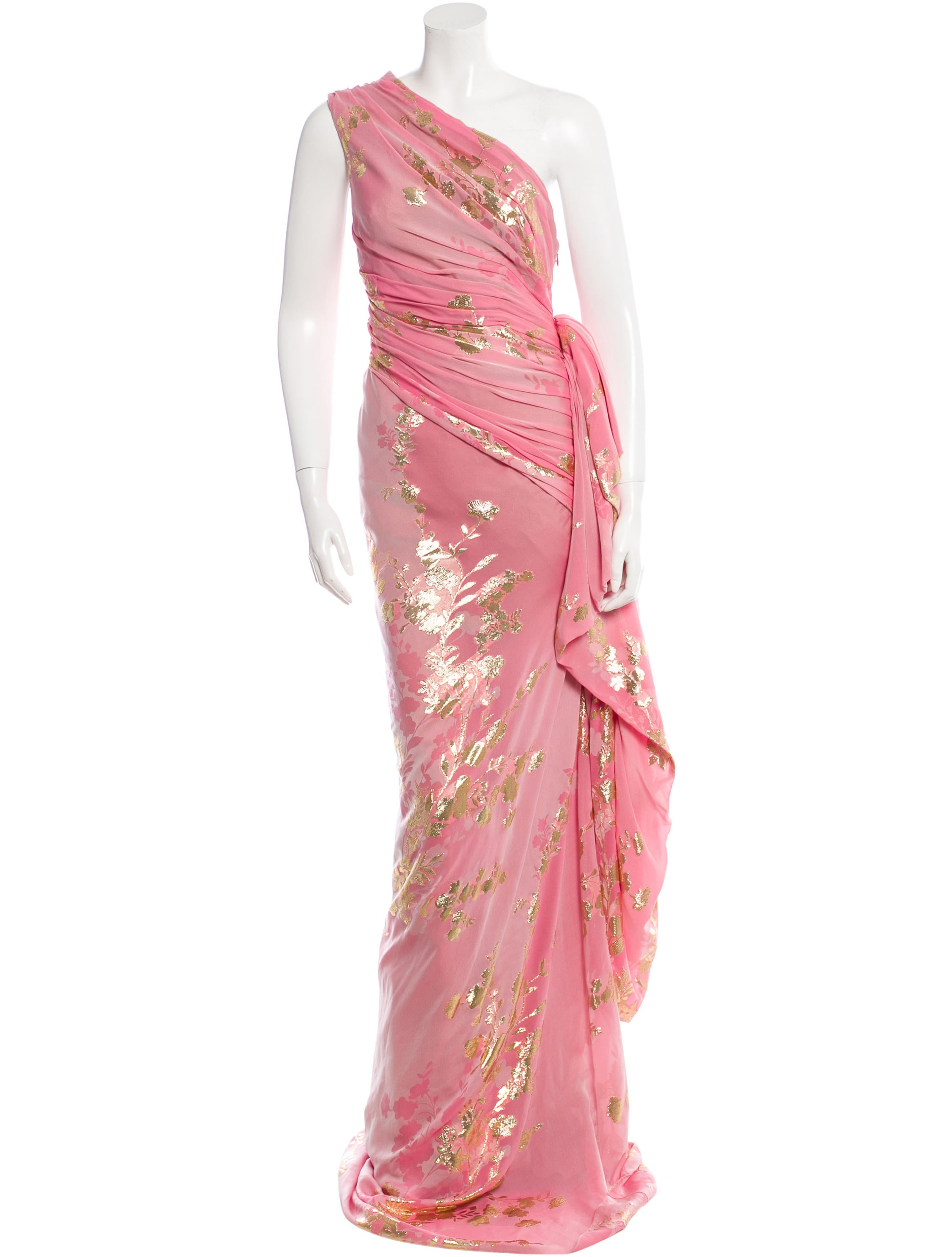 Reem acra silk chiffon embroidered gown clothing