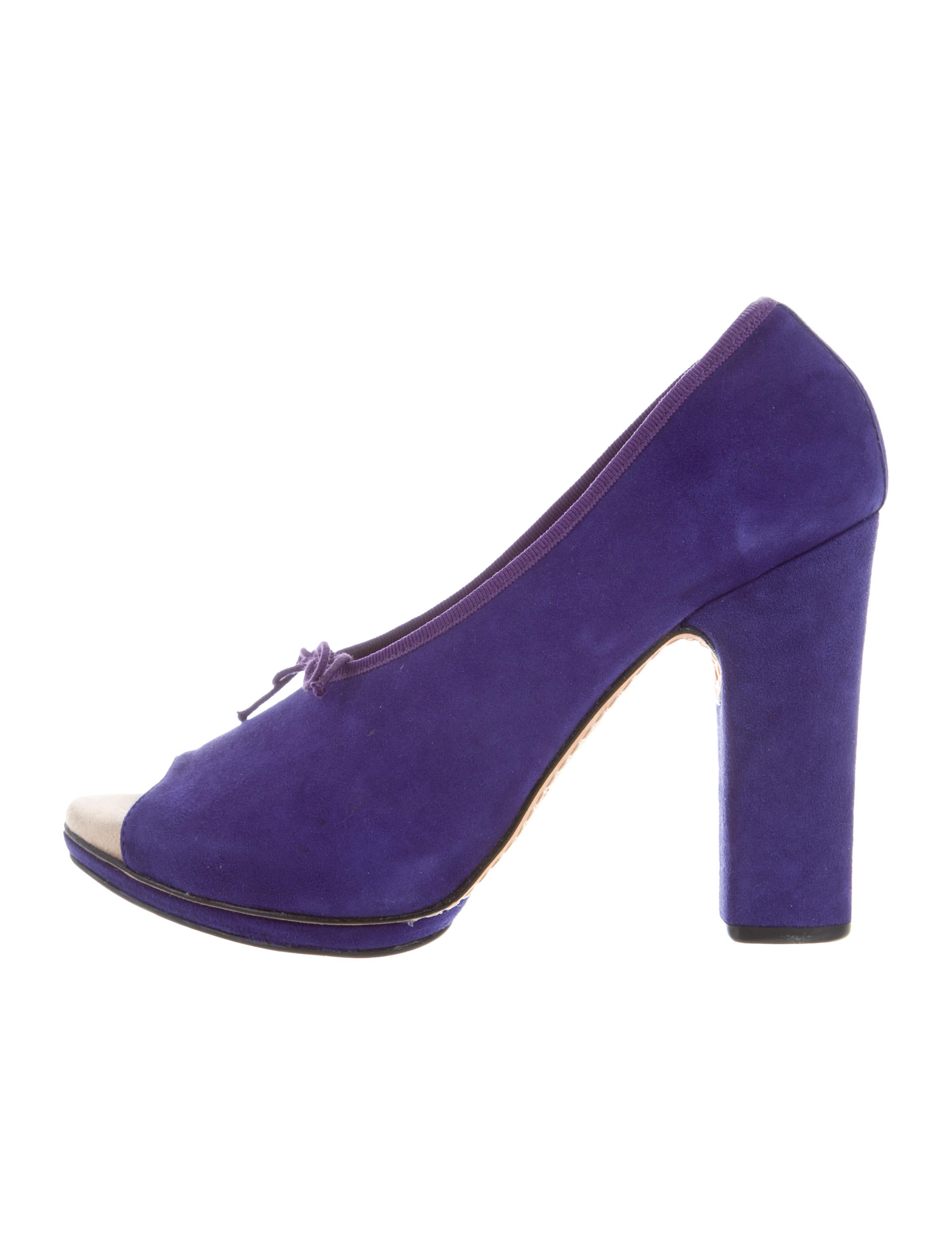 Repetto Peep-Toe Suede Pumps