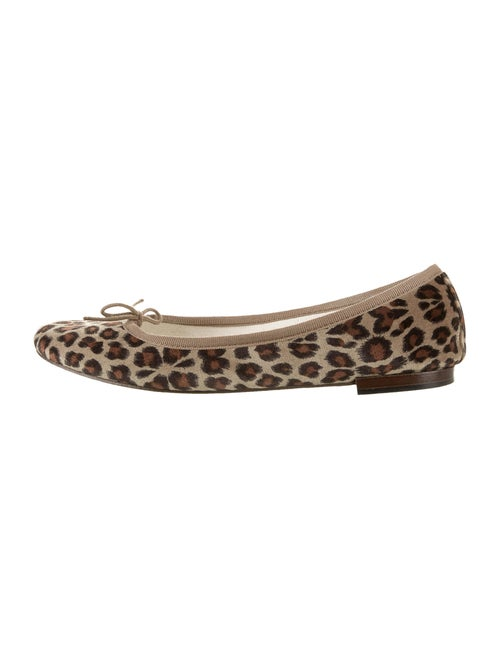 Repetto Animal Print Bow Accents Ballet Flats Blac