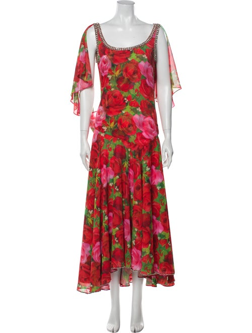 Richard Quinn Floral Print Midi Length Dress Red