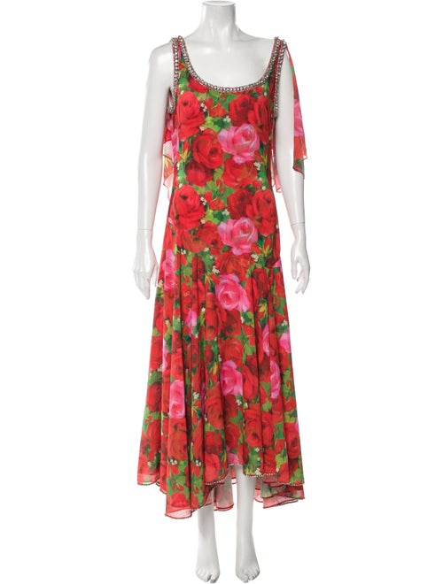 Richard Quinn Floral Print Long Dress Red