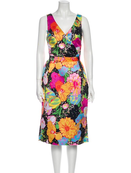 Richard Quinn Floral Print Midi Length Dress w/ Ta