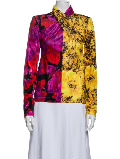 Richard Quinn Floral Print Mock Neck Blouse Yellow