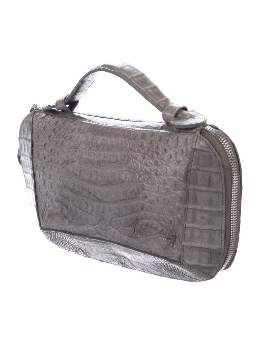 Rhonda Ochs Crocodile Portfolio Clutch Grey - image 3