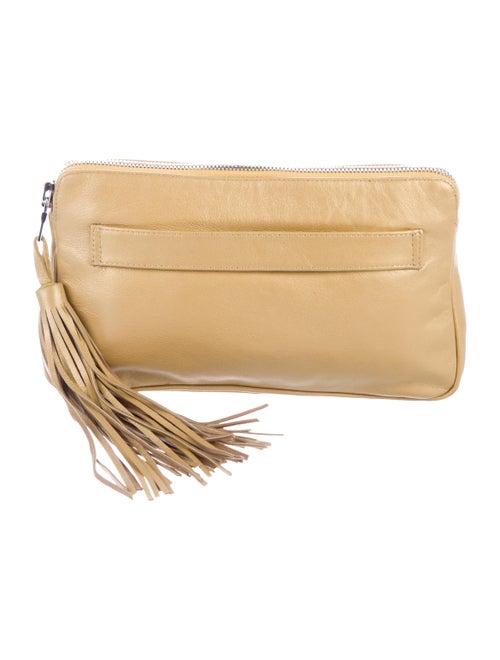 Rhonda Ochs Leather Zip Clutch Metallic