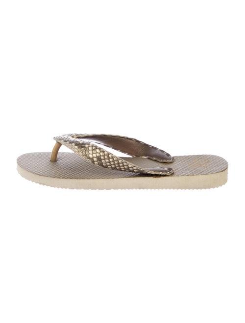 Rhonda Ochs Python Slide Sandals Gold