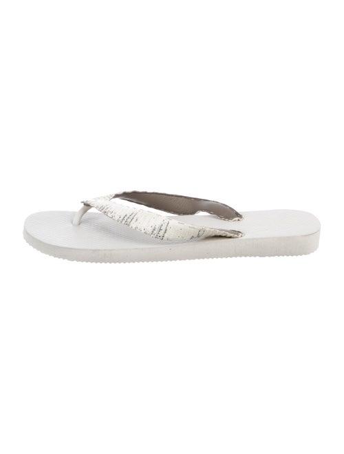 Rhonda Ochs Snakeskin Slide Sandals black