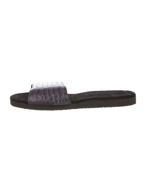Rhonda Ochs Crocodile Slide Sandals Aubergine