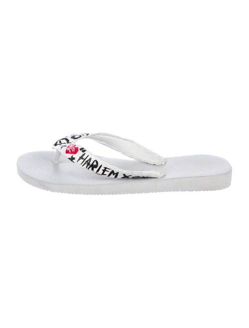 Rhonda Ochs Crocodile Thong Sandals White - image 1
